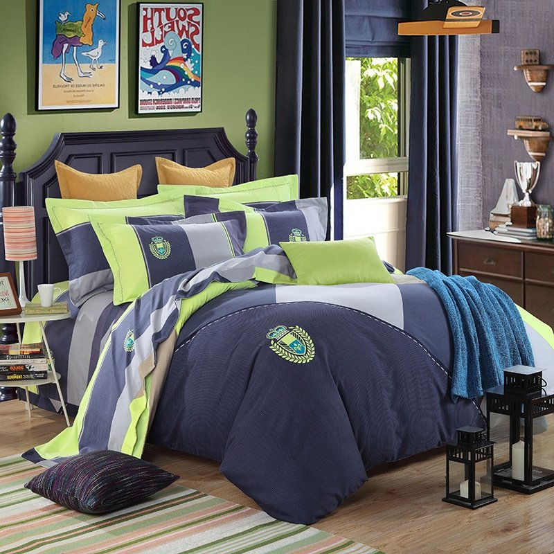 Charcoal Gray and Pistachio Patchwork Pattern and Rugby Stripe Modern Chic Hipster Style 100% Cotton Damask Full, Queen Size Bedding Sets