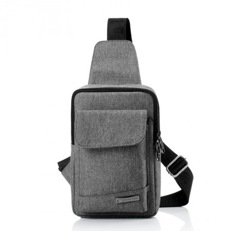 Ash Gray Oxford and Black Trim Color Blocking Crossbody Chest Bag Japanese Style Sewing Pattern Sequined Men Small Chest Pack