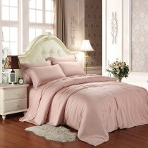 Pale Pink Plain Color Simply Chic Noble Excellence Luxury Western Style Girls Soft 100% Tencel 4 Pieces Full, Queen Size Bedding Sets