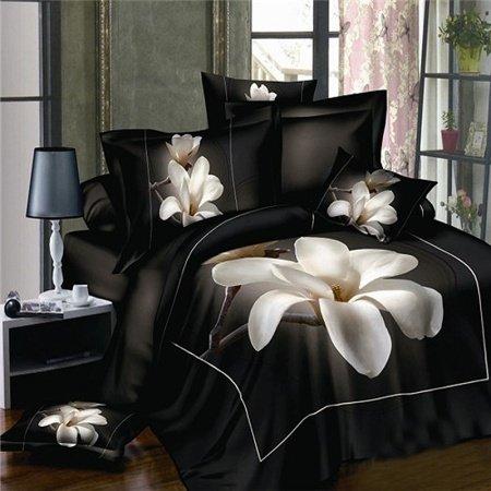 Black and White Magnolia Flower Print Rustic Asian Inspired Oriental Style Unique 3D Design Unique 100% Cotton Full Size Bedding Sets