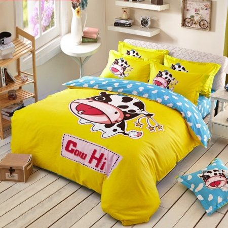 Yellow Black White and Aqua Cow Print Polka Dot Design Modern Chic Hipster Style Farm Animal Kids 100% Cotton Twin, Full Size Bedding Sets