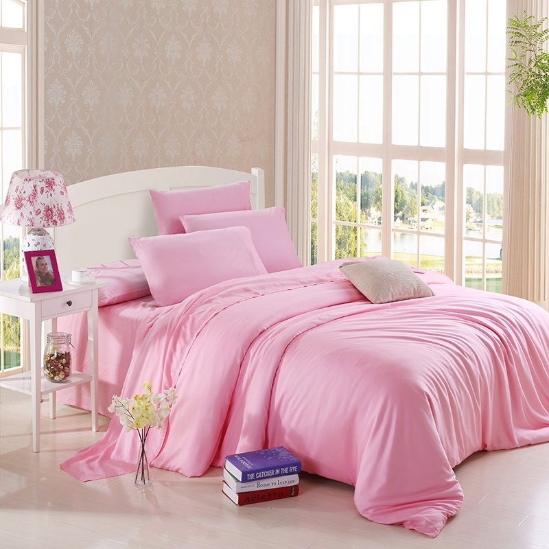 Plain Pink Colored Noble Excellence Luxury and Expensive Simply Chic Unique Girls Microfiber 100% Tencel Full, Queen Size Bedding Sets