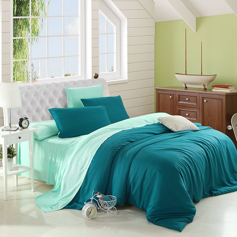 Teal and Light Green Pure Colored Exotic Modern Luxury Noble Expensive Unique Reversible Microfiber Tencel Full, Queen Size Bedding Sets