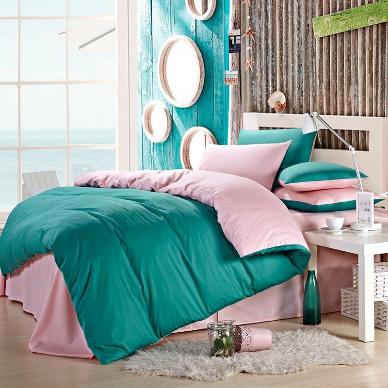 Turquoise and Pink Solid Color Girls Simply Chic Contemporary Western Style Reversible Microfiber All Cotton Full, Queen Size Bedding Sets