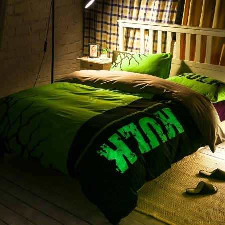 Fluorescent Green and Black Monogrammed and Magic Pattern Hipster Style Abstract Design 100% Cotton Boys Twin, Full Size Bedding Sets