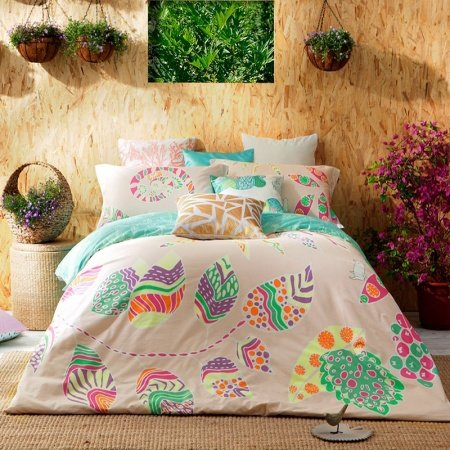 Beige Turquoise and Purple BOHO Chic Southwestern Style Unique Abstract Design Luxury 100% Cotton Damask Full, Queen Size Bedding Sets