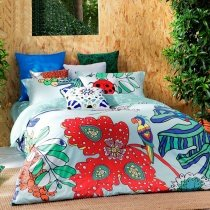 Red Blue and Green Tropical Rainforest Botany Ladybug and Parrot Print BOHO Chic Southwestern 100% Cotton Full, Queen Size Bedding Sets
