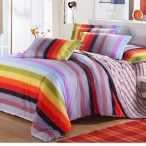 Lilac Red and Black Bright Colorful Rugby Stripe Print Contemporary Luxury 100% Cotton Damask Girls Full, Queen Size Bedding Sets