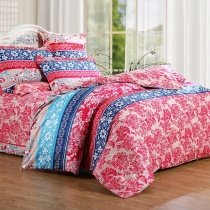 Coral Red Royal Blue and Beige Vintage Stripe and Flower Print Shabby Chic Abstract Personalized 100% Cotton Full, Queen Size Bedding Sets