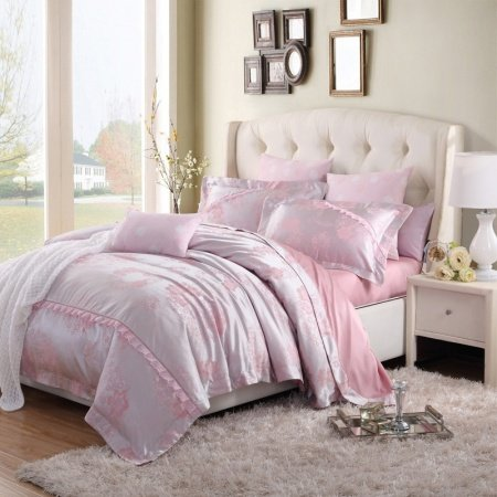 Girls Pink and Silver Vintage Rose Cute Girly Themed Ruffle Luxury Linens Jacquard Design Full, Queen Size Bedding Sets
