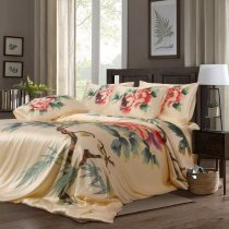 Gold Red Teal and Brown Flower Print Oriental Style Noble Excellence Luxury Chinese Silk Satin Full, Queen Size Bedding Sets