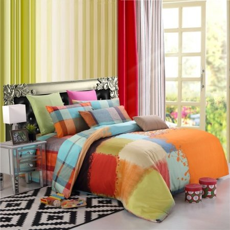 Orange Blue Red and Lime Patchwork Pattern Plaid Print Shabby Chic American Style 100% Cotton Damask Full, Queen Size Bedding Sets