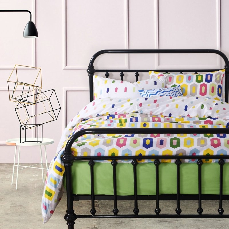 Yellow Pink and Blue Bright Colorful Stylish Polka Dot Abstract Design Unique 100% Cotton Damask Full, Queen Size Bedding Sets