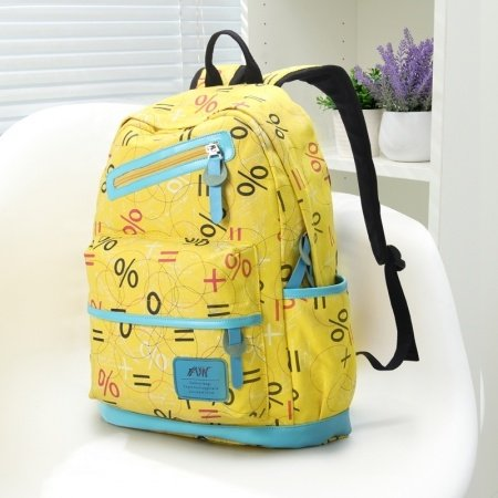 Lemon Yellow Canvas with Blue Trim Cute Girls School Backpack Personalized Monogrammed Sewing Pattern Modern Travel Bag
