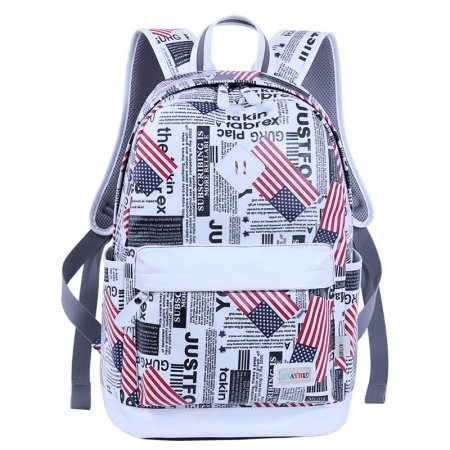 Navy Blue White and Red American Flag Stripe Star and Monogrammed School Backpack Vogue Durable Canvas Travel Bag 14 Inch Laptop Bag