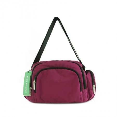 Trend Solid Mulberry Purple Contracted Folding Nylon Crossbody Bag Zipper Stylish Casual Go-shopping Girls Women Shoulder Bag