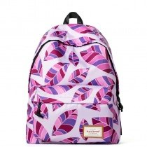 Stylish Lightweight Water-proof Polyester Outdoor Sport Casual Travel Backpack Violet-purple Pink Burgundy Leaf Print School Bag