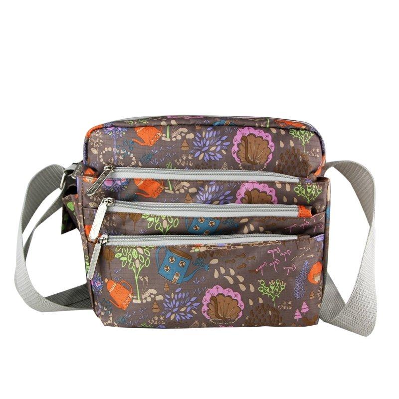 Coffee Brown Colorful Abstract Garden Floral Messenger Bag Durable Canvas European Style Casual Girls Crossbody Shoulder Bag