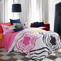Pink Black and White Fashion Curve City Chic Cute Abstract Design Sexy 100% Cotton Damask Full, Queen Size Bedding Sets for Girls