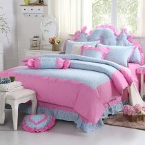 Girls Hot Pink and Tiffany Blue Feminine Feel Princess Style Cute Girly Themed Ruffle 100% Cotton Twin, Full, Queen Size Bedding Sets
