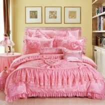 Pink Love Heart and Rose Pattern Victorian Lace Gathered Ruffle Princess Style Cute Girly Themed Modern Chic Full, Queen Size Bedding Sets