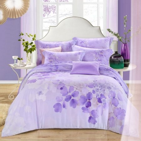 Girls Lavender and Lilac Eco Friendly Leaf Print Country Chic Elegant Fresh Style Unique Design 100% Tencel Full, Queen Size Bedding Sets