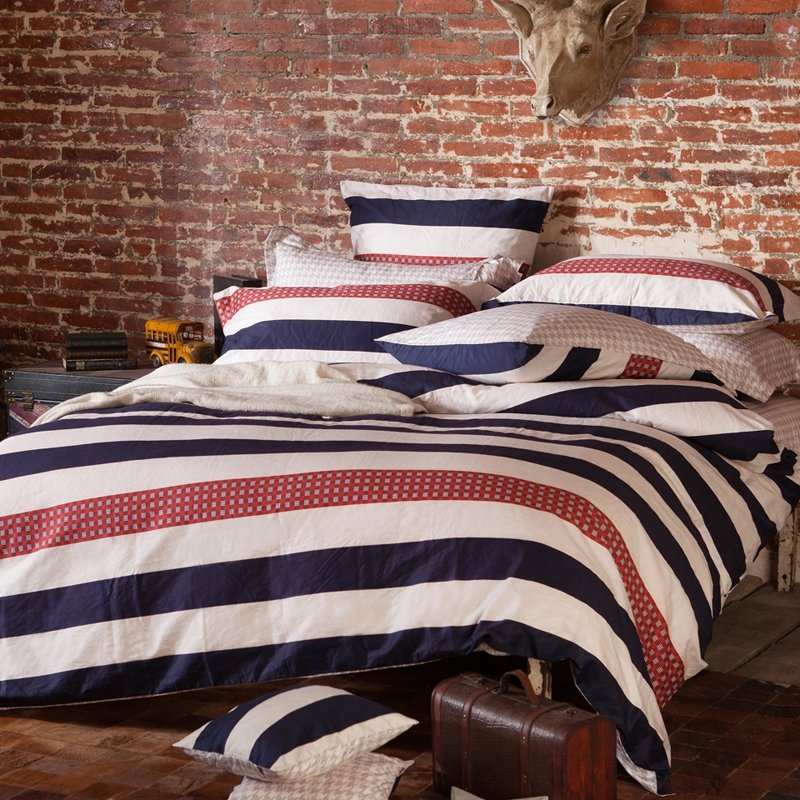 Deep Blue Red and White Awning Stripe Print Traditional Simple and Shabby Chic Reversible 100% Cotton Full, Queen Size Bedding Sets