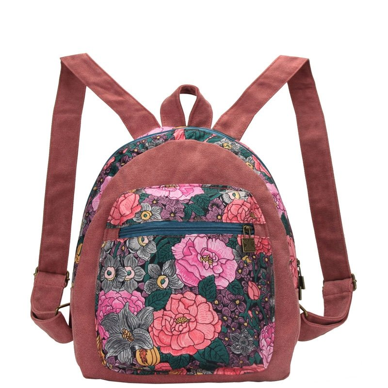 Stylish Vintage Canvas Zipper Casual Girls School Backpack Gorgeous Rustic Western Colorful Floral Korean Preppy Style Book Bag