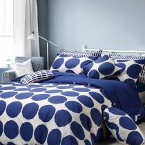 Boys Navy Blue and White Unique Polka Dot Design College Reversible 100% Cotton Twin, Full, Queen Size Bedding Sets