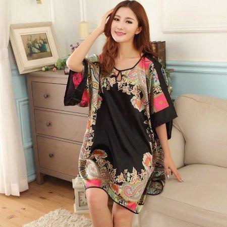 Black Tribal Pattern Breathable Comfortable Soft 1 Piece Polyester Short Sleeve Crewneck Skirt Free Size Women Summer Pajamas