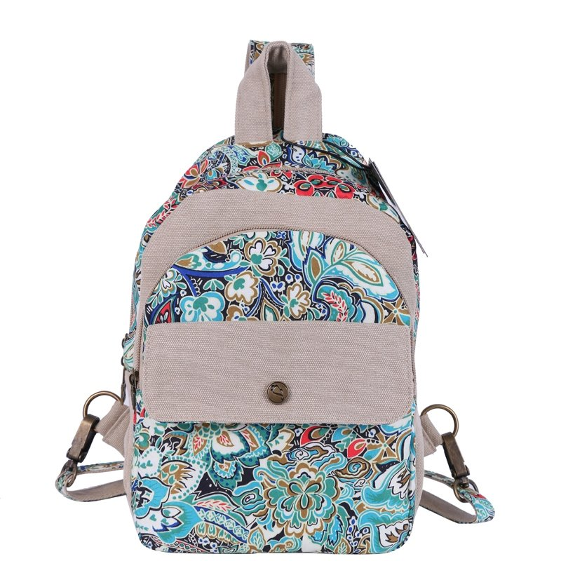 Stylish Durable Canvas Casual Women Small Sling Crossbody Chest Bag Personalized Vintage Bohemian Colorful Floral Outdoor Travel Backpack