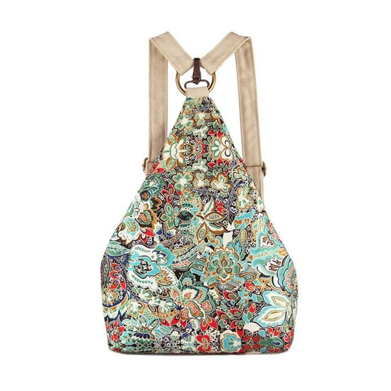 Gorgeous Durable Canvas Stylish Vintage Bohemian Floral Print Casual Travel Hiking Cycling Girls Backpack in Turquoise Red White Camel