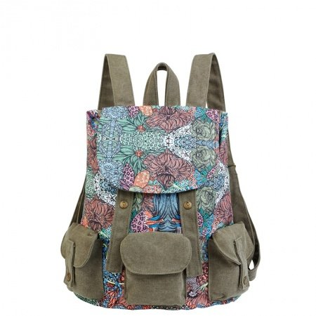 Personalized Vintage Durable Canvas Travel Bucket Drawstring Flap Backpack Bohemian Tribal Colorful Floral Girls Preppy School Book Bag