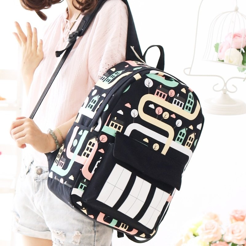 Black Canvas Colorful Hip-hop House Print Girls Preppy School Book Bag Personalized Casual Travel Backpack Durable 14 Inch Laptop Bag