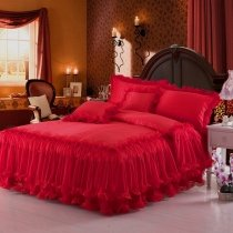 Chinese Red Solid Color Cute Girly Wedding Themed Lace Edge Luxury 100% Polyester Full, Queen Size Bedding Sets