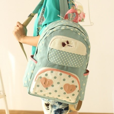 Durable Mint Green Beige Canvas Junior Preppy School Book Bag Trend Cute Heart and Polka Dot Girls Hiking Travel 14 Inch Laptop Backpack