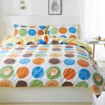 Burnt Orange Blue and Green Colorful Polka Dot Design Preppy Style Stylish 100% Brushed Cotton Twin, Full, Queen Size Bedding Sets