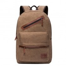 Durable Solid Khaki Brown Canvas with Leather Trim Boys Preppy School Book Bag Simply Chic Masculine Hiking Travel Men Laptop Backpack