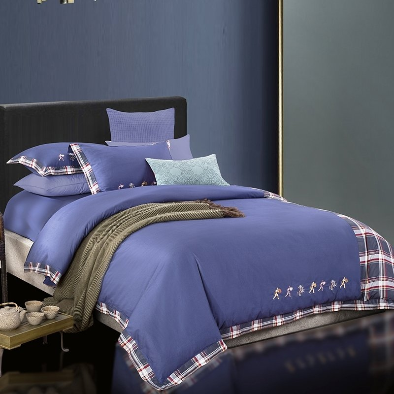Solid Navy Blue and Plaid Print Greek Inspired Preppy Style Simply Chic Embroidered 100% Cotton Damask Full, Queen Size Bedding Sets