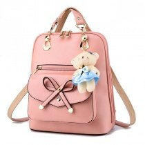 Gorgeous Plain Coral Pink Faux Leather with Cute Bow Girls School Book Bag Personalized Keychain Sewing Pattern Casual Travel Backpack