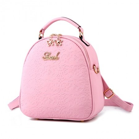 Durable Elegant Girls Pink Embossed Faux Leather Tote Stylish Casual Travel Backpack Vogue Vintage Floral Small Crossbody Shoulder Bag