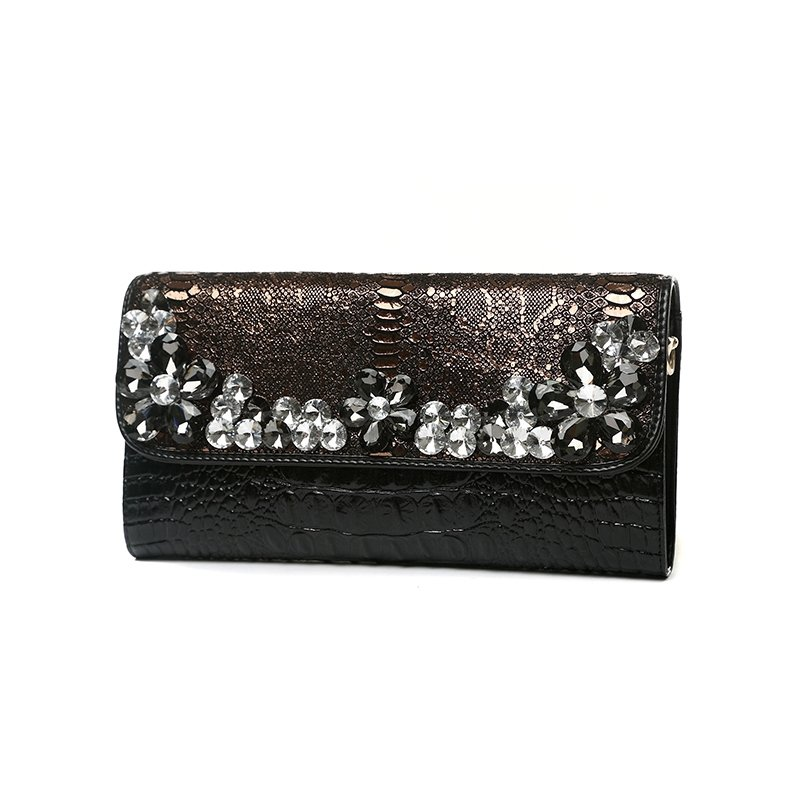 Black Gold Cowhide Leather Sparkle Rhinestone Women Evening Party Wedding Clutch Vintage Embossed Crocodile Flap Crossbody Shoulder Bag