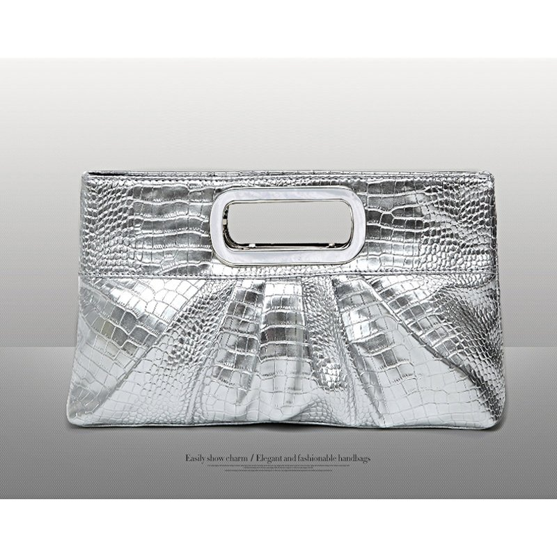 Vintage Silver Patent Leather Embossed Crocodile Casual Party Evening Clutch Wristlet Stylish Women Ruched Sewing Pattern Tote Bag
