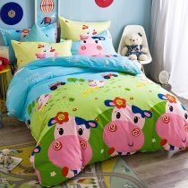 Pigment Green Sky Blue Pink and Lime Farm Animal Cute Cow Print Funky Style Reversible 100% Cotton Twin Size Bedding Sets