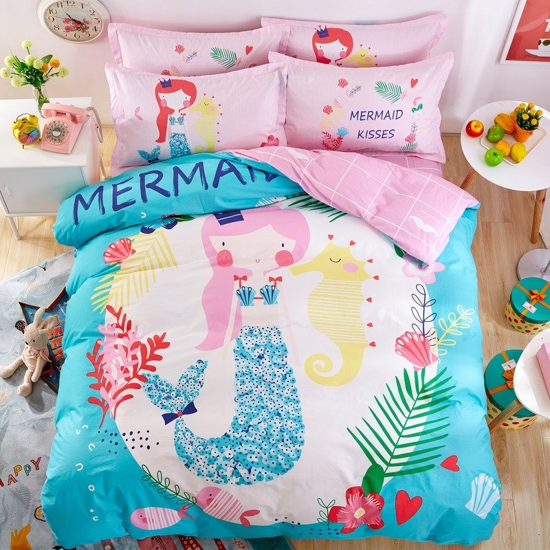 Elegant Girls Pink White Light Blue and Coral Red Mermaid Print Princess Themed Pastel Style 100% Cotton Twin, Full Size Bedding Sets
