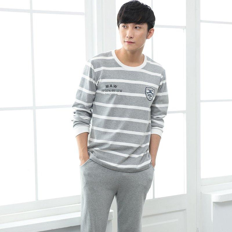 Grey Stripe Print Crewneck Pullover 100% Cotton 2pc Pajamas for Men Boys