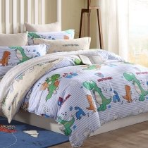 Light Blue Turquoise and Orange Dinosaur Print Jungle Animal Themed Forest Adventure 100% Cotton Twin, Full Size Bedding Sets