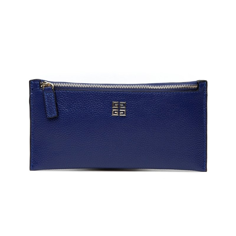 Durable Royal Blue Genuine Cowhide Leather Lady Long Clutch Wallet Gorgeous Sewing Pattern Sequin Zipper Casual Party Shopping Wristlet