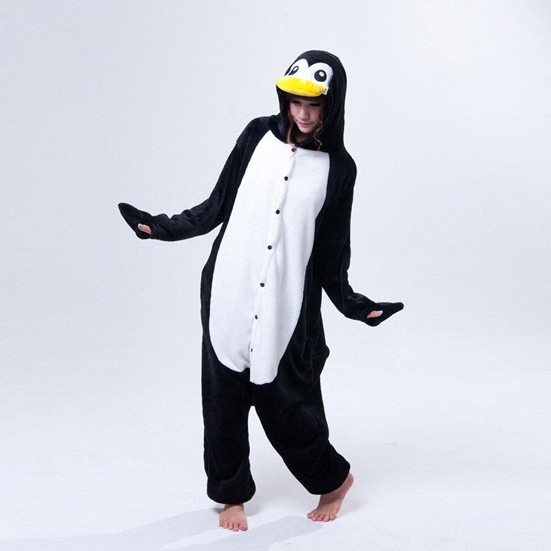Blue Penguin Pattern Flannel Onesies Unisex Adult Flannel Cosplay Costumes Hooded Pajamas