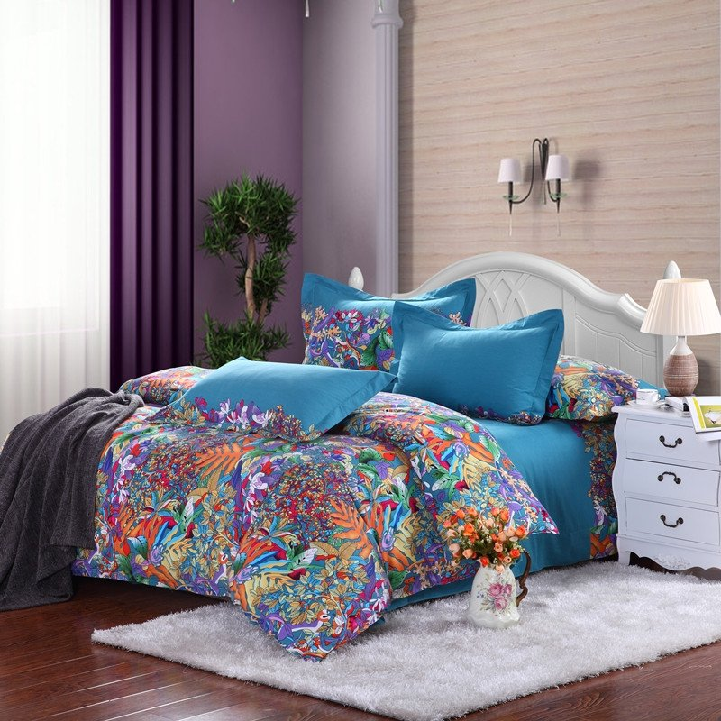 Royal Blue Purple and Orange Tropical Hawaiian Themed Waverly Garden Images Full, Queen Size Bedding Sets